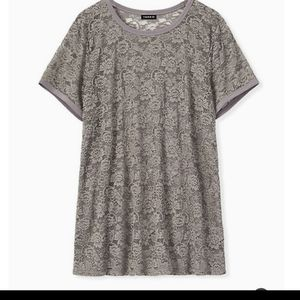 Grey Torrid stretch lace top